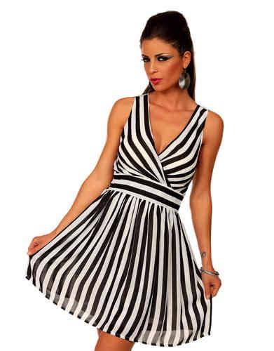 Sexy minikleid weiß/schwarz gestreift v