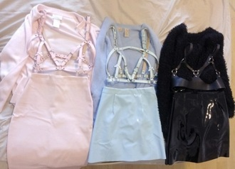 skirt pvc vinyl american apparel pastel harness mini skirt