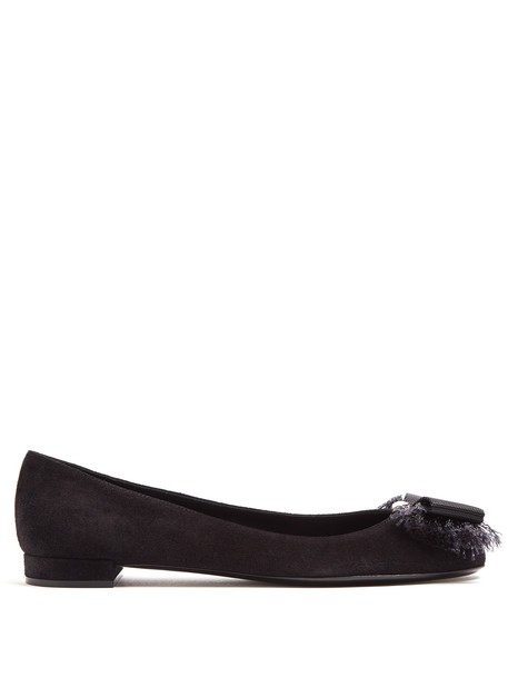 Salvatore Ferragamo bow ballet flats ballet flats suede black shoes