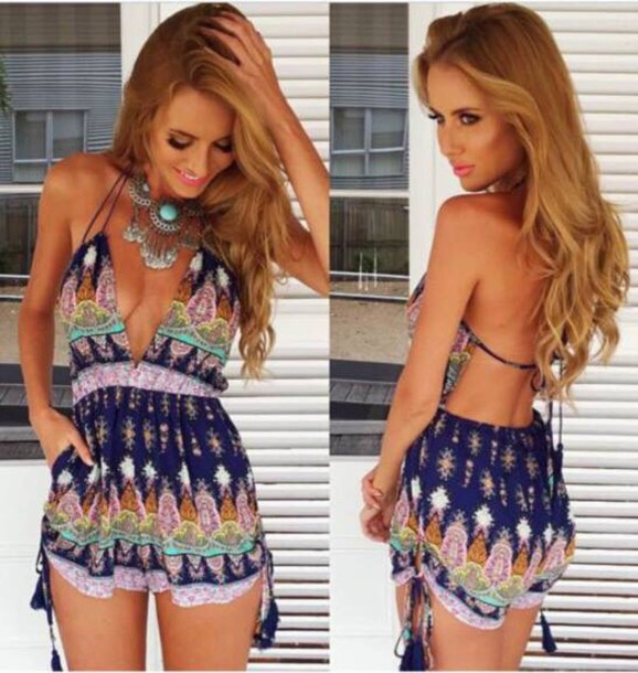 6f9d3bd6063 jumpsuit dress colorful pattern hippie romper sexy sexy dress cut-out boho  dress boho girly