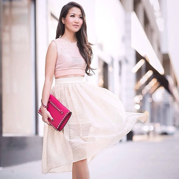skirt white skirt shirt bag