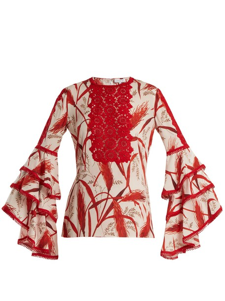 ANDREW GN blouse lace print silk white red top