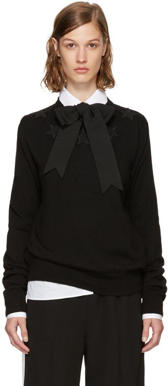 sweater crewneck sweater black stars