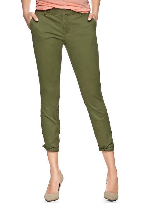 gap skinny mini skimmer khakis - desert cactus