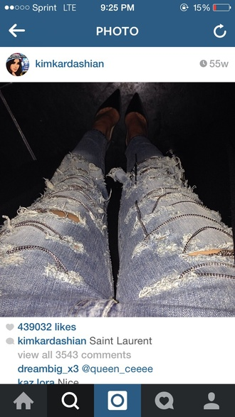 chain ripped jeans