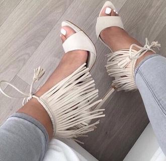 shoes white cream strappy cute
