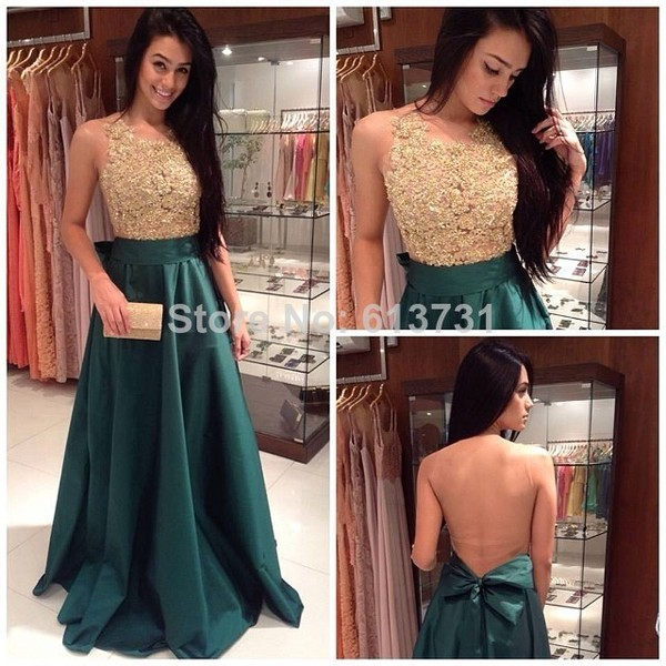 dress green dress backless prom dress gold beaded evening gowns