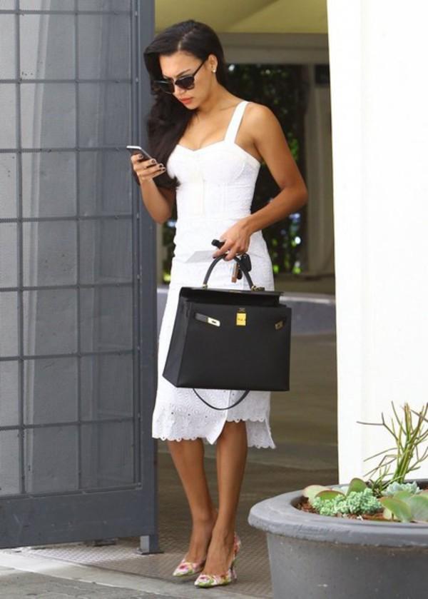 naya rivera dress white dress white bag