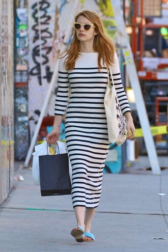 dress stripes striped dress emma roberts sunglasses midi dress spring outfits sandals shoes spring dress