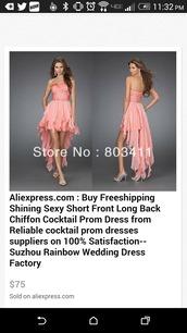 dress,pink dress,red dress,short front long back