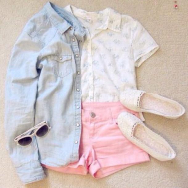 shorts shirt glasses white pattern pastel