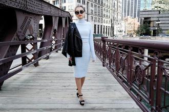 different cands blogger light blue two-piece turtleneck dress black leather jacket
