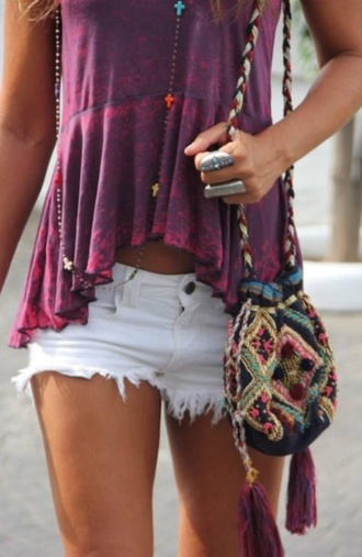 top tank top t-shirt tie dye shorts white shorts hot pants bag jewels summer purple pink