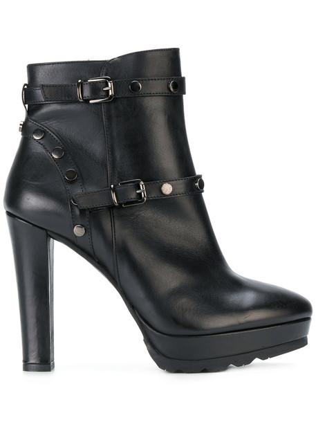 Albano women ankle boots leather black shoes