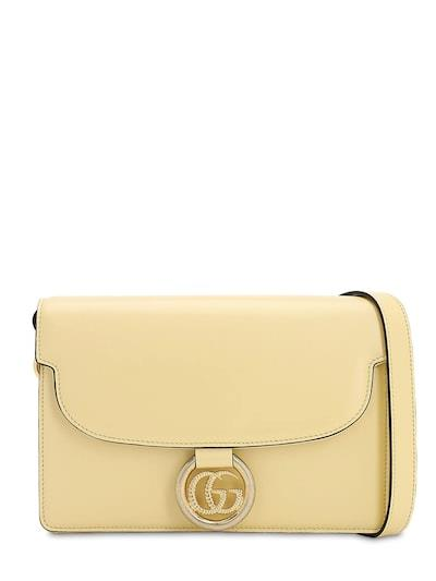 GUCCI Sm Gg Ring Grained Leather Shoulder Bag Burro