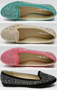 Spike Studded Slip on Loafers Flat Nature Breeze Leila 32 Black Pink Green Beige | eBay