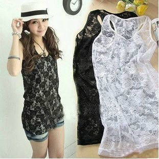 Free Shipping Fashion women Lace tank tops Sexy Transparent rose flower hollow out Slim sleeveless vest Black &White-in Tank Tops from Apparel & Accessories on Aliexpress.com