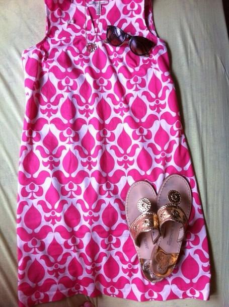 dress printed dress pink