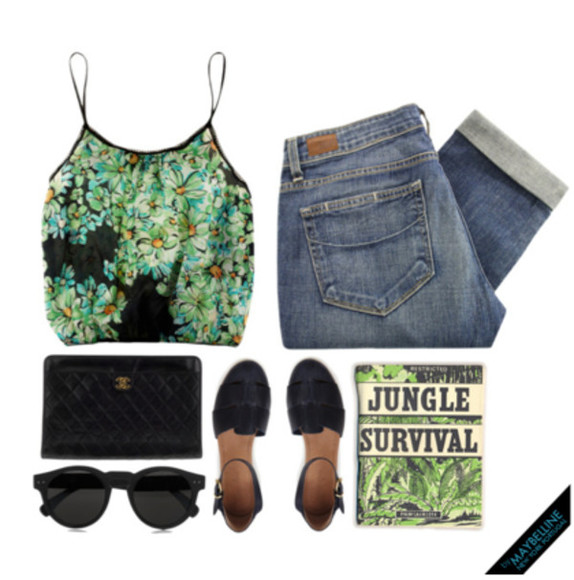 purse shoes black string top jeans green pants book chanel eyewear cateye glasses crop flowers jungle nature survival strap pocket layers big pattern i love you adele beiliber