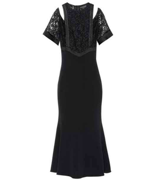 David Koma Cotton-blend dress in black