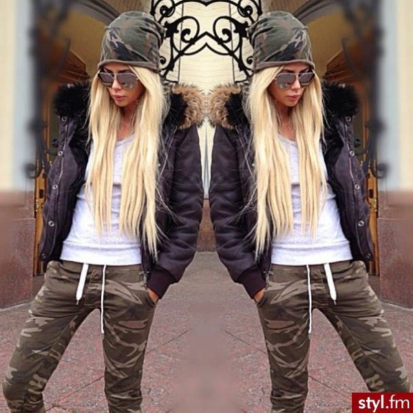 jeans camouflage beanie army green jacket hat pants camouflage girl pretty me beautiful coat