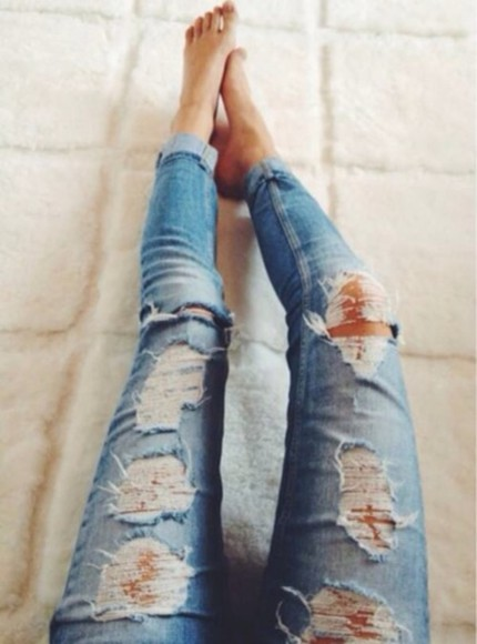 jeans ripped distressed fashion denim