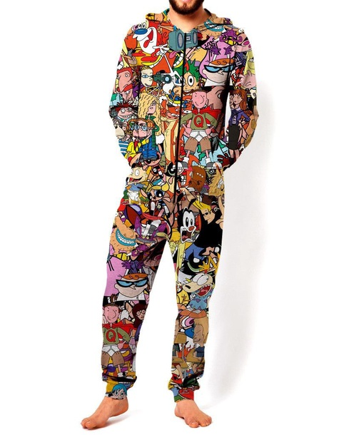jumpsuit 90s style sleepwear cartoon throwback comfy