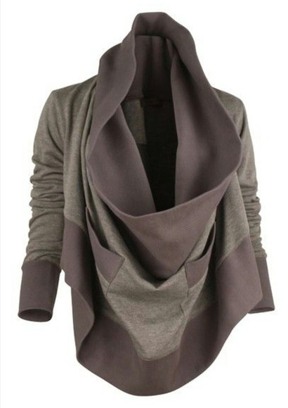 long sleeves cardigan cowl neck fall jacket