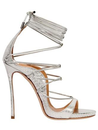 sandals lace silver shoes