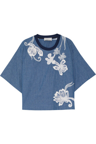 top embroidered cotton silk blue
