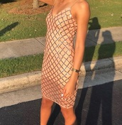 dress,peach,tan,diamonds,sequin dress