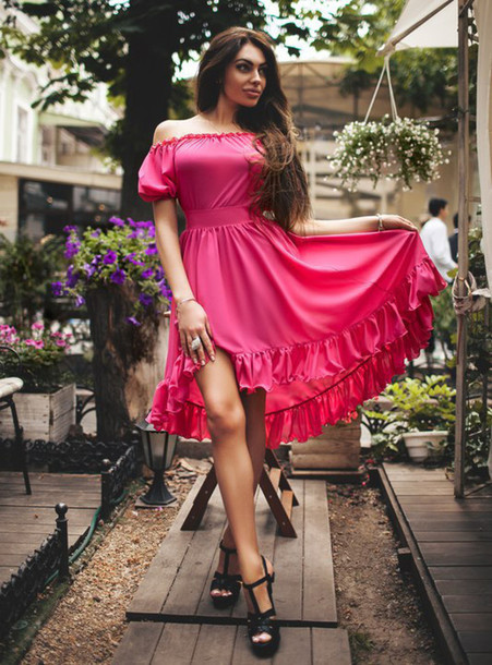6603dfa2ed38 dress zefinka off the shoulder dress puffed sleeves summer dress pink dress  black dress green dress
