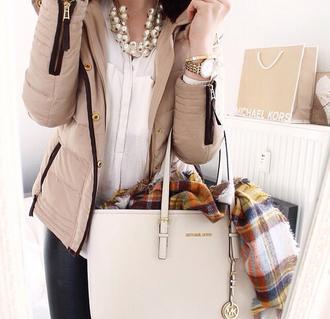 jacket bag beige classy clock scarf zip shirt