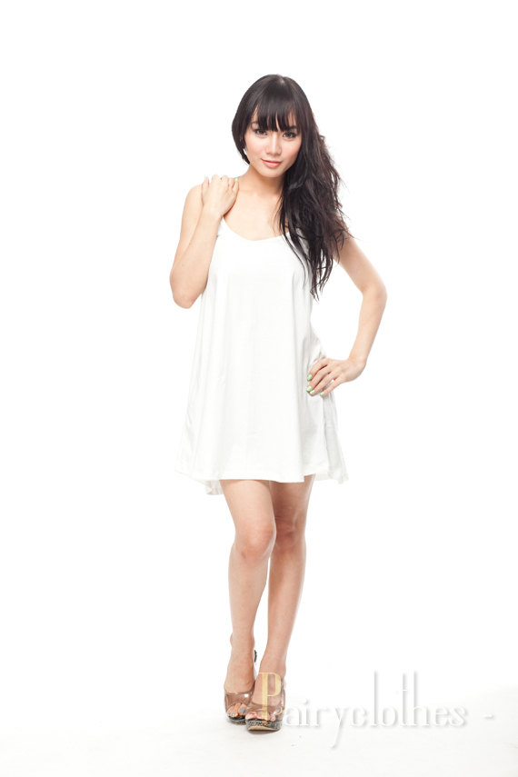 28aad8995f43 Plain White Sundress T Shirt Dress Tank Top Women by PairyClothes