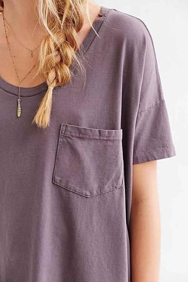 t-shirt pocket loose purple shirt purple tshirt lavender basic plum