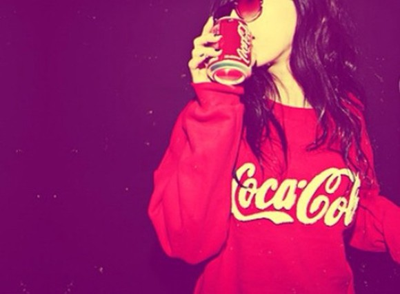 sweater coca cola drink red