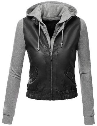 jacket faux leather black grey hoodie vest zip