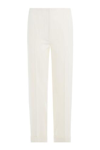 pants cropped wool white