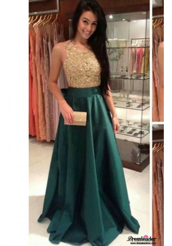 2015 New Fashion O Neck A Line Dark Green Evening Dresses With ...
