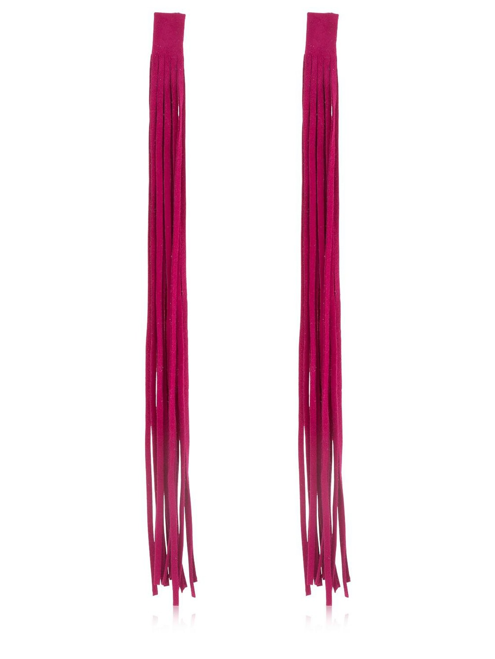 SASKIA DIEZ Leather Fringe Earrings in fuchsia