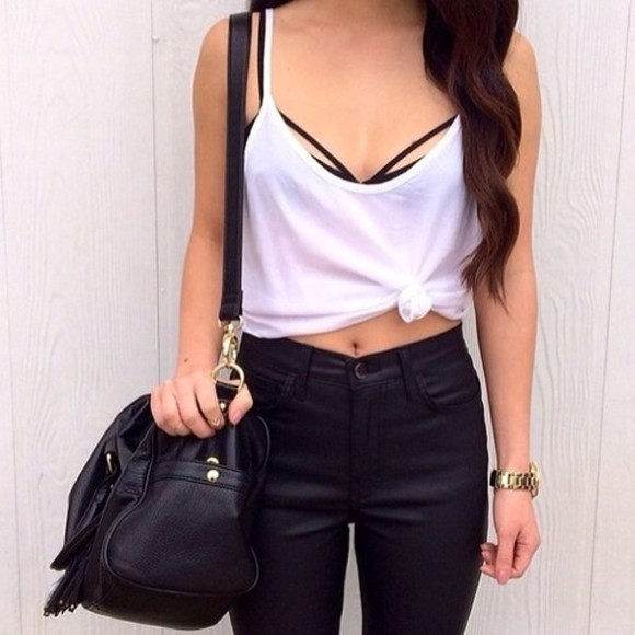 pants black pants bag high waisted pants highwaisted shorts underwear strappy bra bra tank top white tank top black bra high waisted shorts black shorts blouse