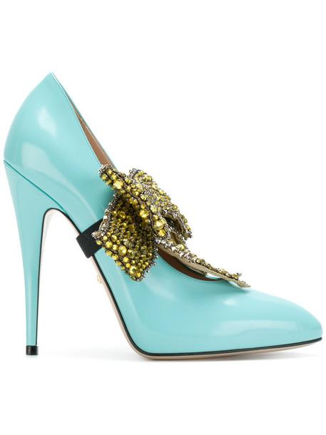 gucci women pumps leather blue shoes