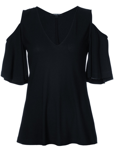 Derek Lam - V-Neck Cold Shoulder Blouse - women - Viscose - 42, Black, Viscose