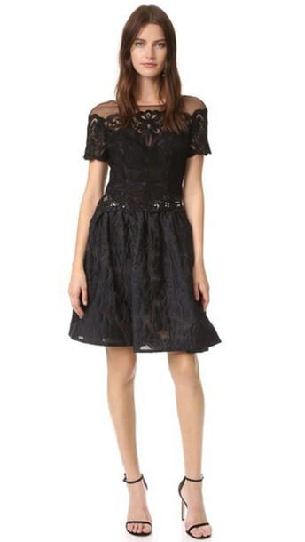 Marchesa Notte Brocade Cocktail Dress - Black