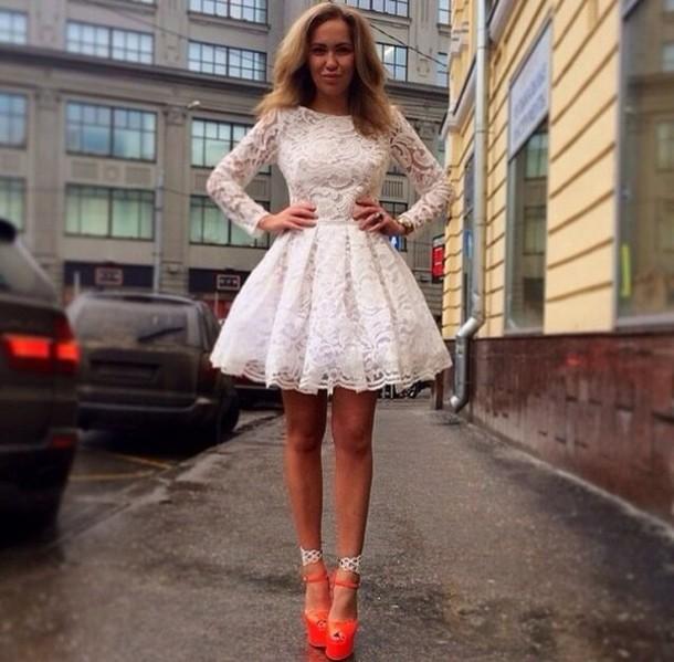 dress long sleeves lace dress white dress homecoming dress white lace dress white