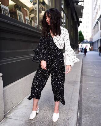 shoes jumpsuit polka dots mules white mules polka dots jumpsuit black and white jumpsuit