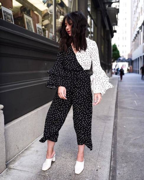 Shoes Jumpsuit Polka Dots Mules White Mules Polka Dots Jumpsuit