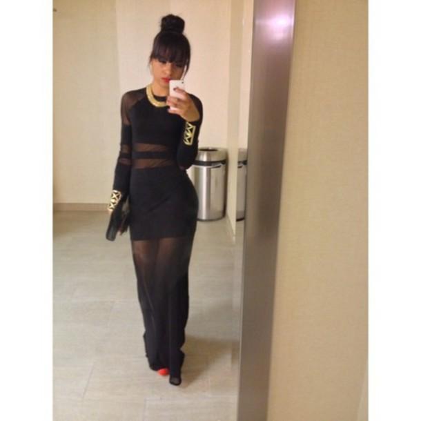 Dress: black dress, tumblr, gold, see through, cut-out ...