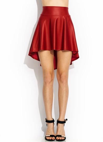 Hey-Slick-High-Low-Skirt RED BLACK - GoJane.com
