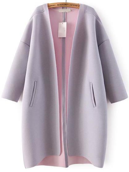 Purple Long Sleeve Pockets Loose Coat - Sheinside.com